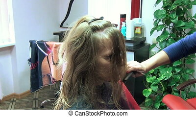 hair lock hairdresser - hairdresser moisturize a customer...