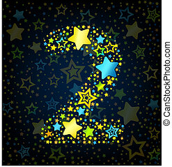 Number 2 cartoon star colored