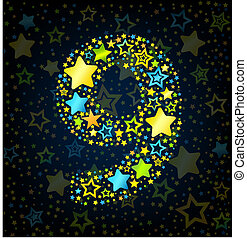 Number 9 cartoon star colored