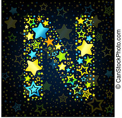 Letter N cartoon star colored - Letter N cartoon kid style...