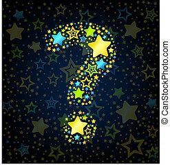 Question mark cartoon star colored
