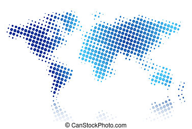 World map - Vector illustration of halftone world map