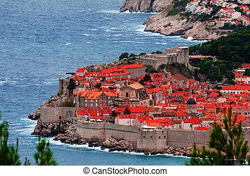 Dubrovnik - Classic red tiled rooftops with Adriatic sea