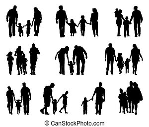 families  - Black silhouettes of walking families , vector
