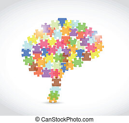 puzzle piece brain illustration over a white background