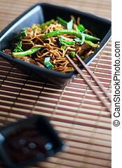 Delicious meat wok - Delicious freshly cooked meat wok on...