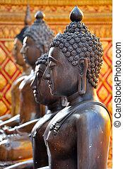 Brozne Buddha statue - Bronze Buddha statue in temple at...
