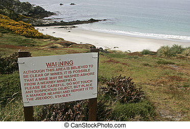Gipsey Cove, beach, Falklands, landmines near Stanley