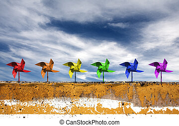 Pinwheels and Sky - Pinwheels and dramatic blue sky, express...