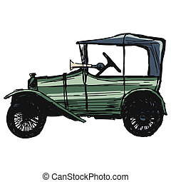 retro car - hand drawn, sketch, cartoon illustration of...