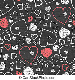 Chalkboard art hearts seamless pattern background - Vector...