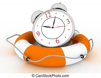 Concept of time to be Safe. Alarm clock with Life Buoy on a...