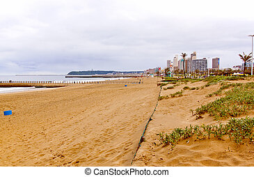 Coastal View of Beach and Durban City Skyline