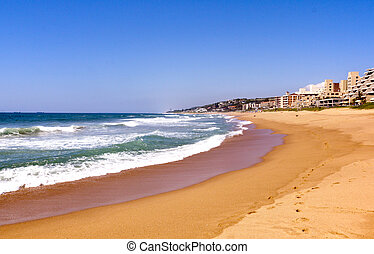 View of Umdloti Beacfront in Durban South Africa - view of...