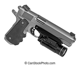 semi-automatic pistol w flashlight - A custom built 1911...