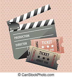 movie theater over dotted background vector illustration