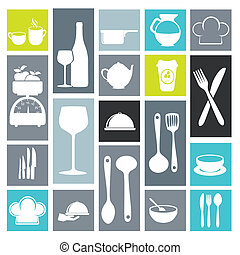 kitchen icons over white background vector illustration