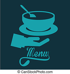 menu design over blue background vector illustration