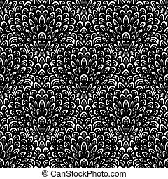 Art deco vector floral pattern in black and white. - Texture...