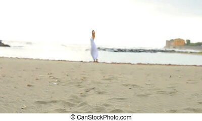 Woman in love on the beach inviting - Beautiful woman having...