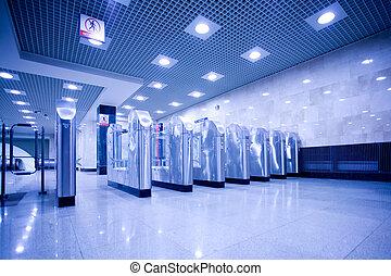 turnstile and doors in subway - turnstile and doors in...