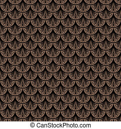 Art deco vector geometric pattern in brown color - Seamless...