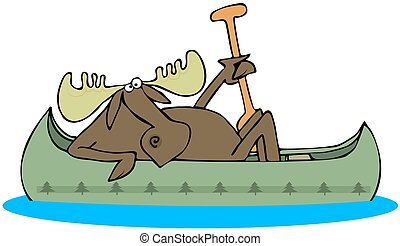 Moose paddling a canoe - This illustration depicts a moose...