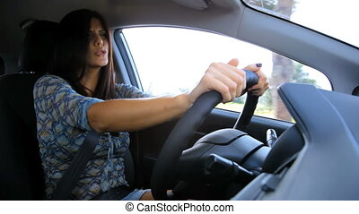 Woman seducing smiling and driving