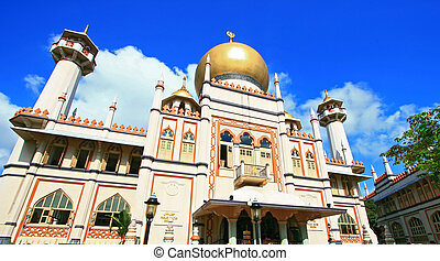 Masjid Sultan,Singapore Mosque, in Arab Street with blue sky