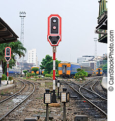 Train signals for railroad and and traffic light for...