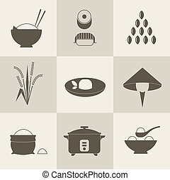 Rice icons - Vector rice icons