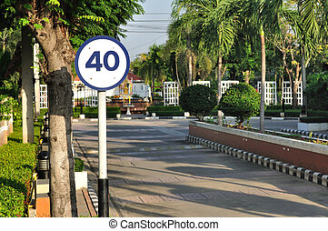 Speed limit sign for safety in public area