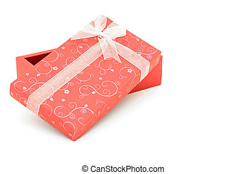 perspective of isolated open red holiday gift box with sapce for text