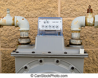 Outside wall natural gas meter dial display detail -...