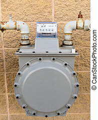 Outside wall natural gas meter supply plumbing - Residential...