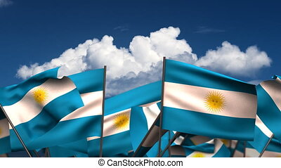 Waving Argentinian Flags seamless alpha channel