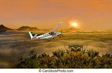 Beautiful airplane on sunrise background