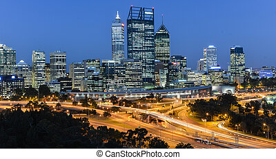 Perth Skyline - Skyline of Perth, Australia at dusk from...
