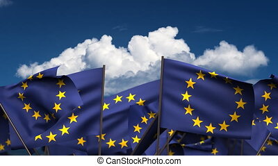 Waving Europe Flags (seamless & alpha channel)