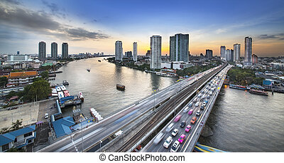 Traffic in modern city, Chao Phraya River, Bangkok, Thailand...