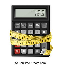 Calories counting. - Black calculator with measuring tape as...