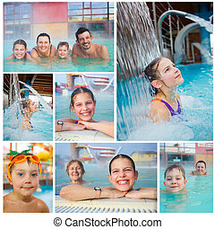Activities on the pool - Collage of activities on the pool....