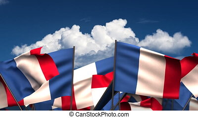 Waving French Flags seamless alpha channel