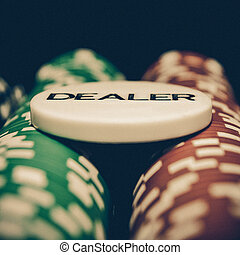 Vintage dealer button - Poker