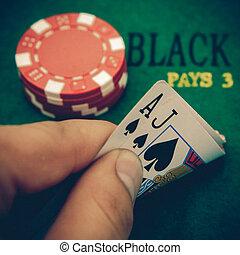vintage black jack table