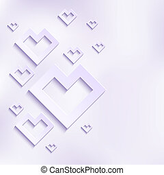 Abstract Vector White Hearts in Flat Design Style....