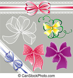 Set of different colors lace bows - for holidays design