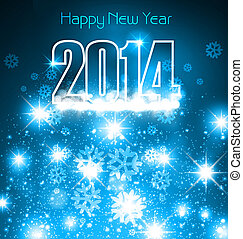 New 2014 year blue colorful greeting card with space for...