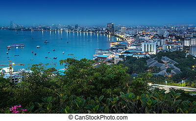 Urban city Skyline, Pattaya bay and beach, Thailand -...