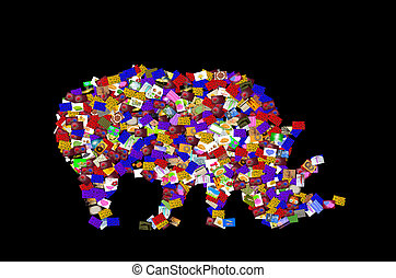 Symbol rhino on black background